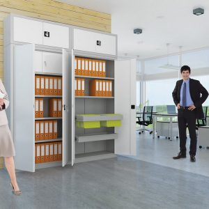 Kancelárske skrine s otočnými dverami
