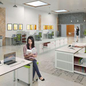 Kancelárske stoly a kontajnery ku stolom