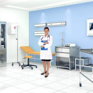 Zdravotnícky nábytok odolný voči kyselinám